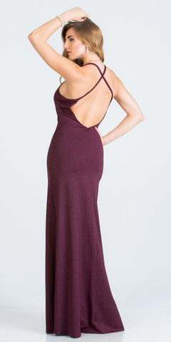 Criss-Cross Back Long Formal Dress V-Neck Burgundy