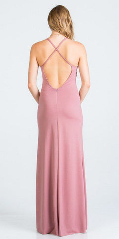 Criss-Cross Back Long Formal Dress V-Neck Mauve