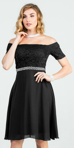Off-Shoulder Short Cocktail Dress Black with Short Sleeves