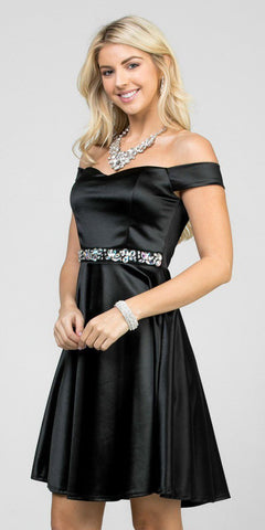 Fit and Flare Stretch Satin Off the Shoulder Short Black Dress