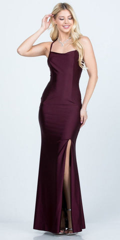 Criss-Cross Back Long Formal Dress V-Neck Hunter Burgundy