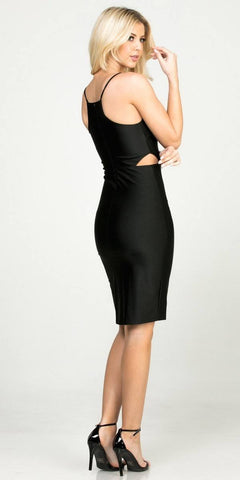 Black Fitted Short Party Dress with Cut-Out and Slit