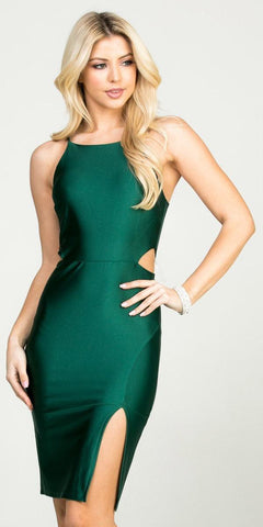 Hunter Green Fitted Short Party Dress with Cut-Out and Slit