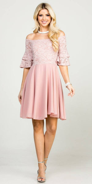 Double Ruffle Sleeve Fit and Flare Blush Dress Off The Shoulder