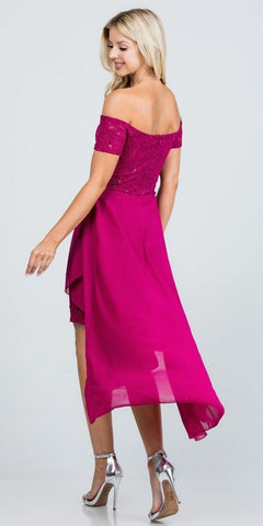 Embellished Waist High and Low Cocktail Dress Fuchsia