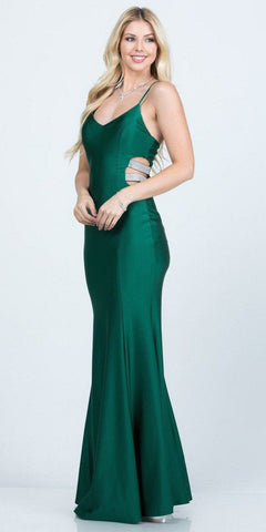 V-Neck Long Prom Dress with Side Cut-Outs Hunter Green