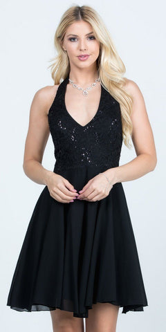 Black Lace Top Halter Short Party Dress