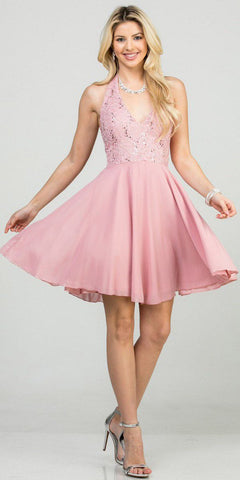 Blush Lace Top Halter Short Party Dress