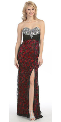 Studded Bodice Strapless Lace Long Black Red Prom Gown