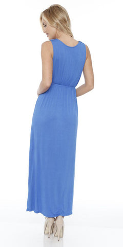 Katherine Maxi Dress Blue Lace Neckline Wide Straps Empire