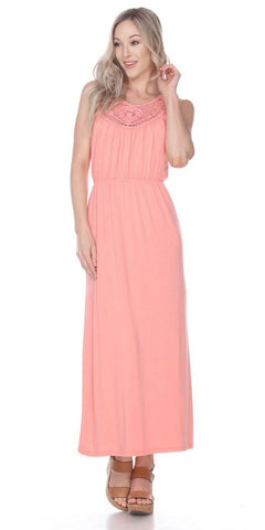 Katherine Maxi Dress Coral Lace Neckline Wide Straps Empire