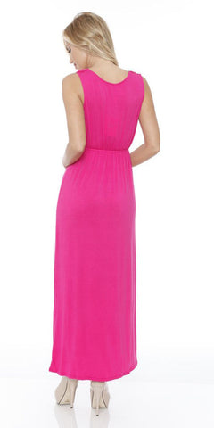Katherine Maxi Dress Fuchsia Lace Neckline Wide Straps Empire