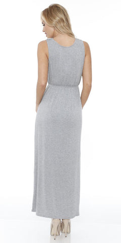 Katherine Maxi Dress Gray Lace Neckline Wide Straps Empire
