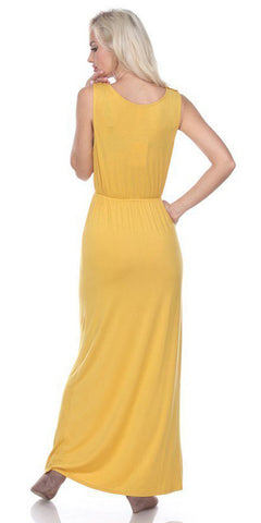 Katherine Maxi Dress Mustard Lace Neckline Wide Straps Empire