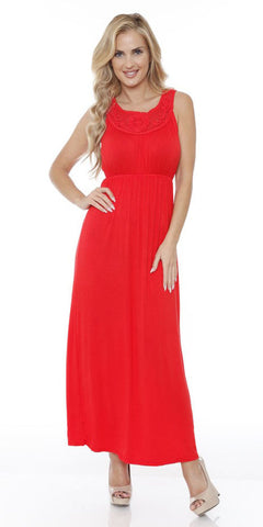 Katherine Maxi Dress Red Lace Neckline Wide Straps Empire