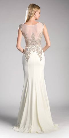 Cinderella Divine 35 Illusion Bateau Neck Embroidered Bodice Cream Floor Length Prom Dress Back View