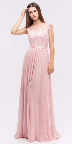 Lace Illusion Bodice Bateau Neck A-line Long Dress Dusty-Pink