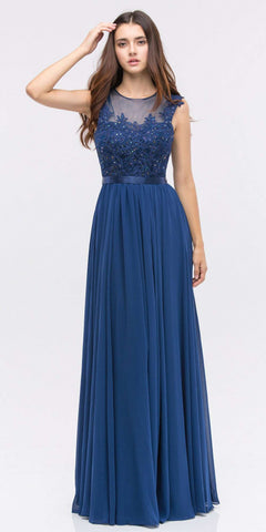 Lace Illusion Bodice Bateau Neck A-line Long Dress Navy Blue