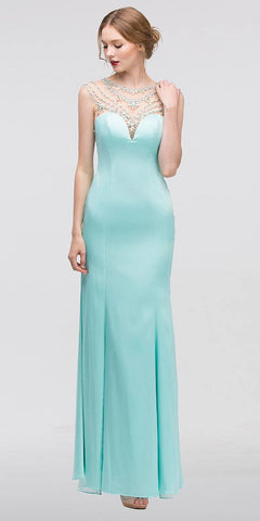 Mint Illusion Beaded Sweetheart Neckline Mermaid Prom Gown