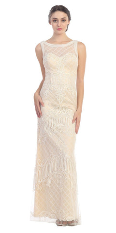 Ivory/Champagne Satin and Corded Lace Long Column Dress Formal