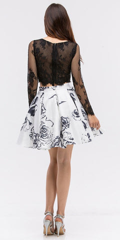 White/Black Long Sleeves Two Piece Homecoming Dress Print Skirt with Pockets