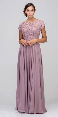 Eureka Fashion 4909 Mauve Short Sleeves Applique Bodice A-Line Long Formal Dress