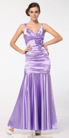 Lilac Mermaid Dress Plus Size Pleated Bodice Floral Detail Gown