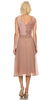 Tan Knee Length V-Neck Chiffon Dress with Bolero Jacket Back View