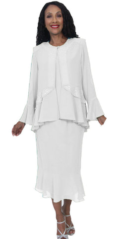 Hosanna 5172 Plus Size 3 Piece Set White Tea Length Dress