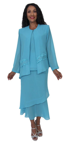 Hosanna 5189 Plus Size 3 Piece Set Aqua Tea Length Dress