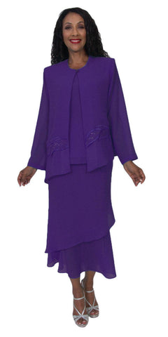 Hosanna 5189 Plus Size 3 Piece Set Purple Tea Length Dress