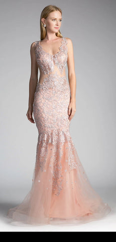 Peach Mermaid Appliqued Prom Gown Sheer Midriff
