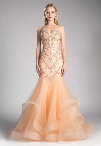 Peach Strapless Tiered Mermaid Prom Gown Lace Up Back