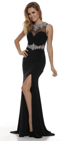 Thigh Slit Jewel Neckline Black Elegant Red Carpet Dress