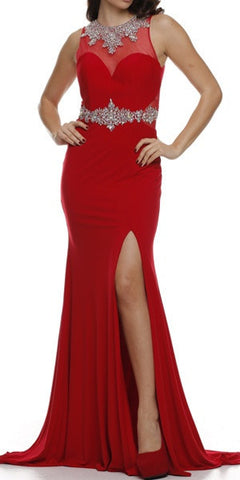 Thigh Slit Jewel Neckline Red Elegant Red Carpet Dress