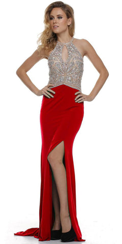 Thigh Slit Halter Neck Keyhole Front Red Nude Column Prom Dress