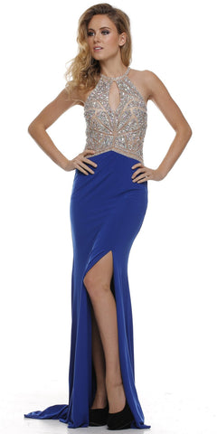 Thigh Slit Halter Neck Keyhole Front Royal Nude Column Prom Dress