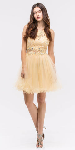 Mock 2 Piece Champagne Dress Short Poofy Skirt Lace Top