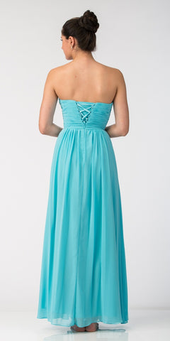 Starbox USA 6014-1 Chiffon Strapless Tiffany Blue Beach Wedding Bridesmaid Dress Back View