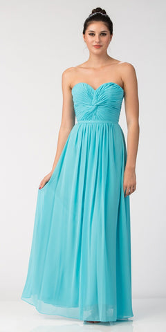 Starbox USA 6014-1 Chiffon Strapless Tiffany Blue Beach Wedding Bridesmaid Dress