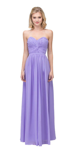 Popular Chiffon Strapless Lilac Beach Wedding Bridesmaid Dress