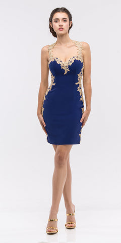 Lace Sheath Prom Dress Navy Blue Long High Slit