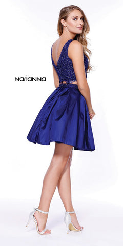 V-Shape Back Applique Crop Top Two-Piece Homecoming Short Dress Royal Blue