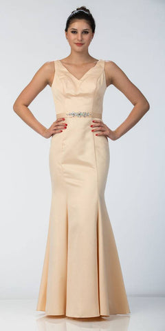 Champagne Mermaid Long Formal Dress V-Neck Jeweled Waist