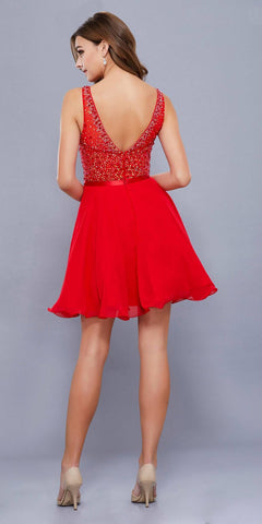 Nox Anabel 6163 Red Illusion Beaded Bodice Sleeveless Homecoming Dress Short