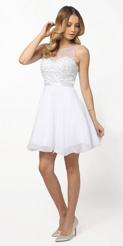 Nox Anabel 6163 White Illusion Beaded Bodice Sleeveless Homecoming Dress Short