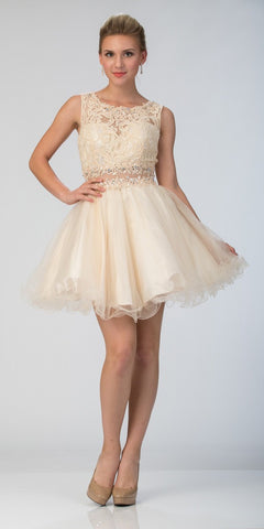 Starbox USA Mock Two-Piece Sleeveless Short Prom Dress Champagne