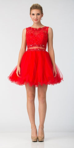 Starbox USA Mock Two-Piece Sleeveless Short Prom Dress Red