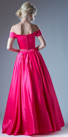 Fuchsia Off Shoulder Two-Piece Long Prom Dress with Pockets