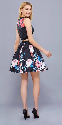 Two-Piece Homecoming Short Dress Black Floral Crop Top Sleeveless